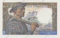 10 Francs MINEUR FRANCE  1942 F.08.05 SUP à SPL