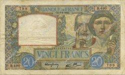 20 Francs SCIENCE ET TRAVAIL FRANCE  1940 F.12.03 pr.TTB