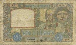20 Francs SCIENCE ET TRAVAIL FRANCE  1940 F.12.05 B