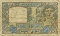 20 Francs SCIENCE ET TRAVAIL FRANCE  1940 F.12.06 B+