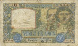 20 Francs SCIENCE ET TRAVAIL FRANCE  1940 F.12.08 pr.TB