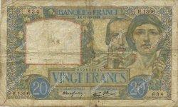 20 Francs SCIENCE ET TRAVAIL FRANCE  1940 F.12.09 pr.TB