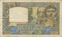 20 Francs SCIENCE ET TRAVAIL FRANCE  1940 F.12.11 TB+
