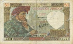 50 Francs JACQUES CŒUR FRANCE  1941 F.19.12 TTB