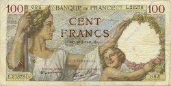 100 Francs SULLY FRANCE  1941 F.26.51 TTB