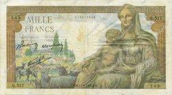 1000 Francs DÉESSE DÉMÉTER FRANCE  1942 F.40.02 TB+