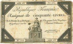 50 Livres FRANCE  1792 Muz.44 pr.TB