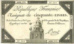 50 Livres FRANCE  1792 Muz.44 SPL