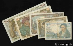 Lot 5 billets BdF : La France de 1940 FRANCE  1939 F.05-08-13-19-26 TB à TTB