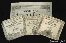 Lot 4 assignats : La Révolution Française 1792-1795 FRANCE  1792 Laf.- TB à TTB