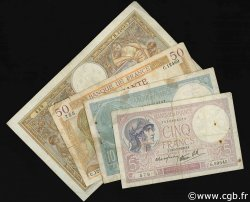 Lot 4 billets BdF : Entre deux Guerres FRANCE  1930 F.04-07-18-25 B à TB