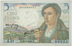 5 Francs BERGER FRANCE  1943 F.05.02 pr.NEUF