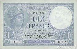 10 Francs MINERVE modifié FRANCE  1941 F.07.26 SUP