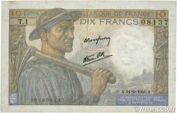 10 Francs MINEUR FRANCE  1941 F.08.01 TB+