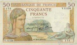 50 Francs CÉRÈS modifié FRANCE  1939 F.18.32 TTB
