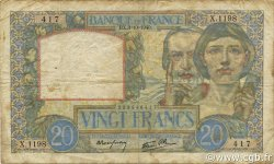 20 Francs SCIENCE ET TRAVAIL FRANCE  1940 F.12.08 TB