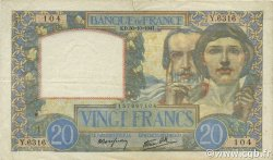 20 Francs SCIENCE ET TRAVAIL FRANCE  1941 F.12.19 TTB