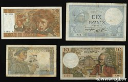 Lot 4 billets BdF : Les 10 Francs au XXe siècle FRANCE  1940 F.07-08-62-63 TB