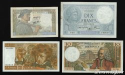 Lot 4 billets BdF : Les 10 Francs au XXe siècle FRANCE  1940 F.07-08-62-63 TTB