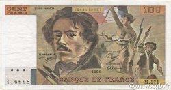 100 Francs DELACROIX imprimé en continu FRANCE  1991 F.69bis.03a2 TTB+