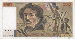 100 Francs DELACROIX imprimé en continu FRANCE  1991 F.69bis.03a3 pr.SUP