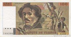 100 Francs DELACROIX imprimé en continu FRANCE  1993 F.69bis.05 pr.SUP