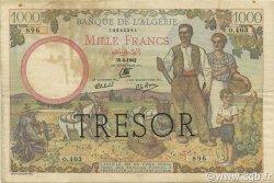 1000 Francs Algérie surchargé FRANCE  1943 VF.10.01 pr.TTB