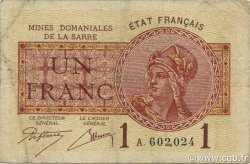 1 Franc Mines domaniales de la  Sarre FRANCE  1920 VF.51.01 TB