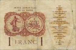 1 Franc MINES DOMANIALES DE LA SARRE FRANCE  1920 VF.51.02 TB+