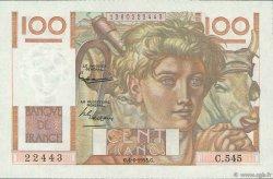 100 Francs JEUNE PAYSAN FRANCE  1953 F.28.37 SUP+