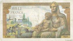 1000 Francs DÉESSE DÉMÉTER FRANCE  1942 F.40.02 TTB