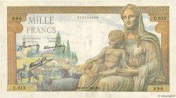 1000 Francs DÉESSE DÉMÉTER FRANCE  1942 F.40.03 TTB+