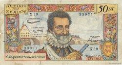 50 Nouveaux Francs HENRI IV FRANCE  1959 F.58.02 B