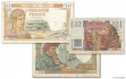 Lot 3 billets BdF : Les 50 Francs au XXe siècle FRANCE  1937 F.18-19-20 B à TB