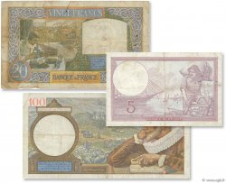 Lot 3 billets BdF : Entre deux Guerres FRANCE  1939 F.04-12-26 B à TB