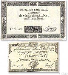 Lot 2 assignats : La Révolution Française 1792-1795 FRANCE  1792 Ass.25a- 43a TTB à SUP