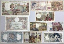 Lot de 10 billets : Pour Débuter une collection FRANCE  1939 F.04-20-25-28-34-41-50-61-62-67 B à TB