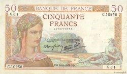 50 Francs CÉRÈS modifié FRANCE  1939 F.18.30 pr.TTB