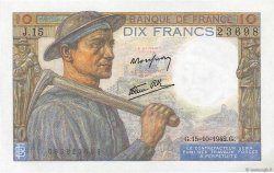 10 Francs MINEUR FRANCE  1942 F.08.04 NEUF