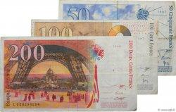 Lot de 3 billets BdF : Dernière Gamme FRANCE  1996 F.73-74-75 TB