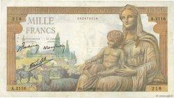 1000 Francs DÉESSE DÉMÉTER FRANCE  1942 F.40.12 pr.TTB
