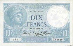 10 Francs MINERVE modifié FRANCE  1940 F.07.24 SUP