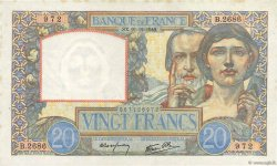 20 Francs SCIENCE ET TRAVAIL FRANCE  1940 F.12.11 pr.SUP