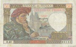 50 Francs JACQUES CŒUR FRANCE  1941 F.19.06 pr.TTB