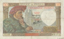 50 Francs JACQUES CŒUR FRANCE  1941 F.19.14 pr.TTB