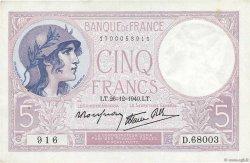 5 Francs VIOLET modifié FRANCE  1940 F.04.18 pr.SPL