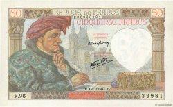 50 Francs JACQUES CŒUR FRANCE  1941 F.19.12 SPL+