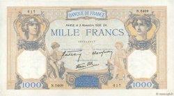 1000 Francs CÉRÈS ET MERCURE type modifié FRANCE  1938 F.38.32 TTB+