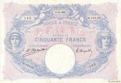 50 Francs BLEU ET ROSE FRANCE  1923 F.14.36 pr.SUP
