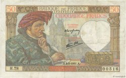 50 Francs JACQUES CŒUR FRANCE  1941 F.19.10 TTB